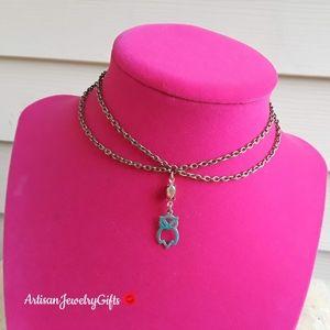 Layered Patina Owl Antique Gemstone Necklace